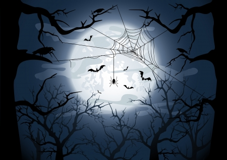 all saints day: Scary Halloween night background, illustration