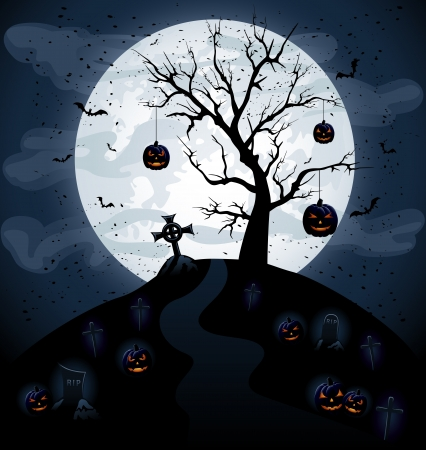 Scary Halloween night background, illustration Vector