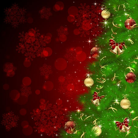 christmas tree: Background with Christmas tree, bells and snowflakes, illustration. Illustration