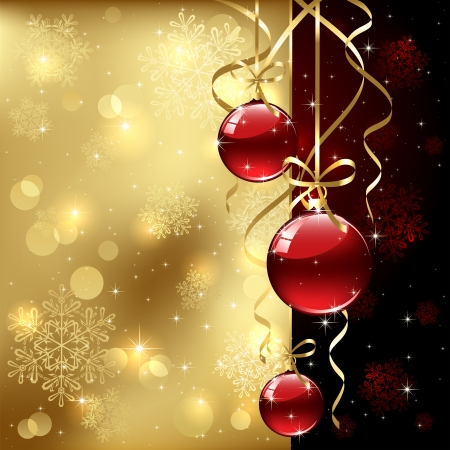 christmas bow: Christmas background with baubles, illustration.  Illustration