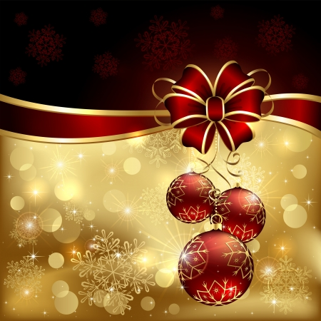 feliz: Background with Christmas baubles, bow and snowflakes, illustration.