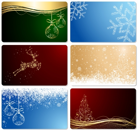 Set of Christmas cards, illustration.  Vector