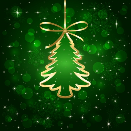 Green shiny background with Christmas tree, illustration.  Vector