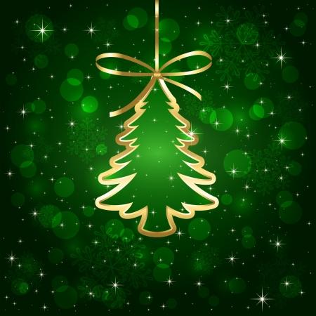 christmas tree: Green shiny background with Christmas tree, illustration.