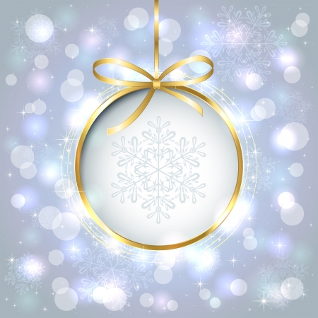 Blue shiny christmas background with bauble, illustration.  Vector