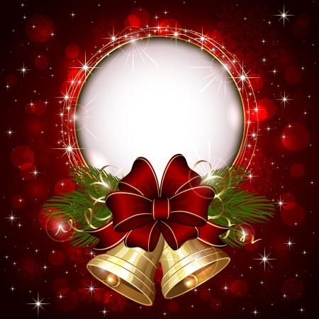 sparkle background: Background with Christmas bells, bow and snowflakes, illustration