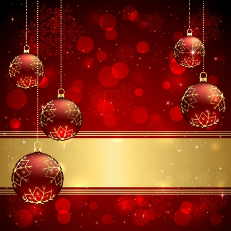 Background with red christmas baubles, illustration. Stock Vector - 16000348
