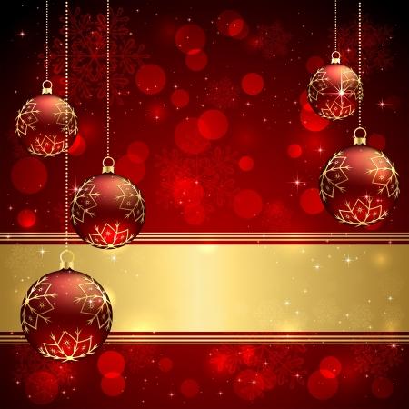 feriado: Fondo con el rojo de la Navidad adornos, ilustración.