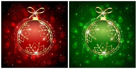 Backgrounds with red and green christmas baubles, illustration. Stock Vector - 16000352