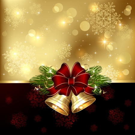 Background with Christmas bells, bow and tinsel, illustration. Vector