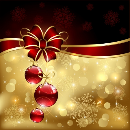 Background with red christmas baubles, illustration. Vector