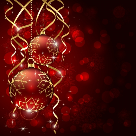 christmas illuminations: Abstract background, with Christmas baubles, stars, snowflakes and blurry lights, illustration.