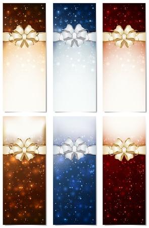 blurry lights: Set di lucidi cartoline di Natale con fiocco, fiocchi di neve e luci sfocate, illustrazione.