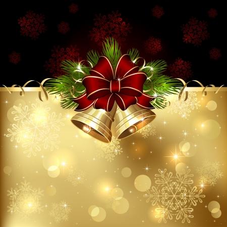 campanas de navidad: Fondo con las campanas de Navidad, el arco y el oropel, ilustración. Vectores