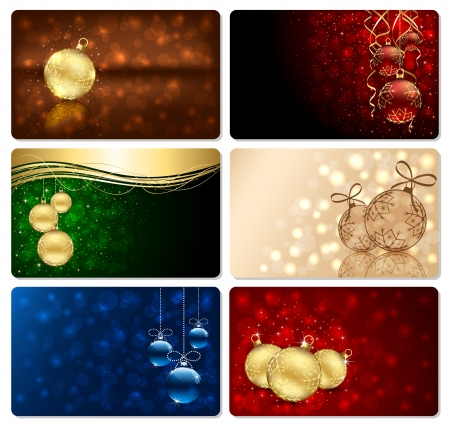 christmas cards: Set of Christmas cards with Christmas baubles, stars, snowflakes and blurry lights, illustration.  Illustration