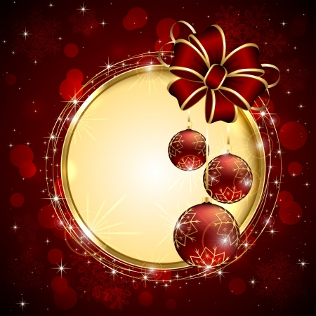 Background with bow and three red Christmas balls, illustration. Vector