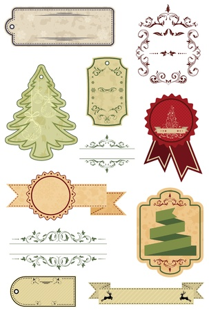 Set of Christmas labels, illustration. Vector