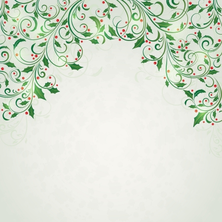 Abstract christmas ornament with holly, Illustration Stock Vector - 16101239