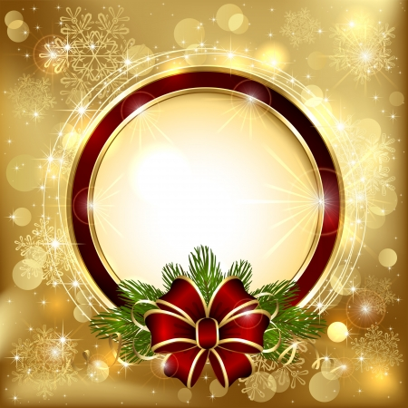 Christmas decoration on a golden background with bow and branches of the Christmas tree, illustration. Vector