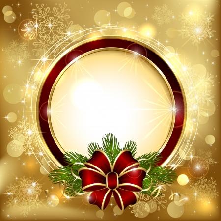 feliz: Decorazioni di Natale su uno sfondo dorato con arco e rami di albero di Natale, illustrazione.