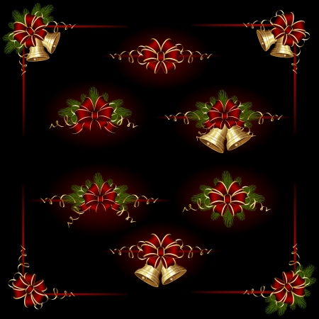 Set of elements for an ornament with Christmas bells, bow and tinsel, illustration. Vector
