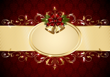 Background with Christmas bells, bow and ornate pattern, illustration. Vector