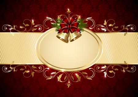 campanas de navidad: Fondo con las campanas de Navidad, patrón de arco y adornado, ilustración.