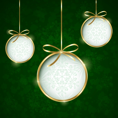 christmas gifts: Green Christmas background with bauble, illustration.