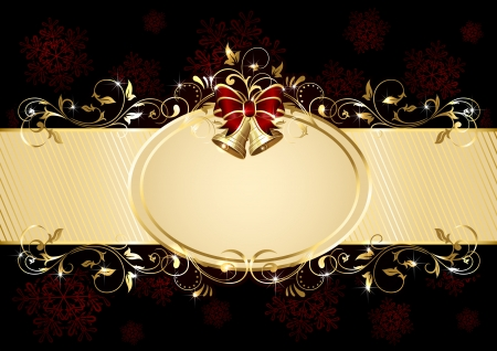 Holiday background with Christmas bells, bow and ornate pattern, illustration. Vector