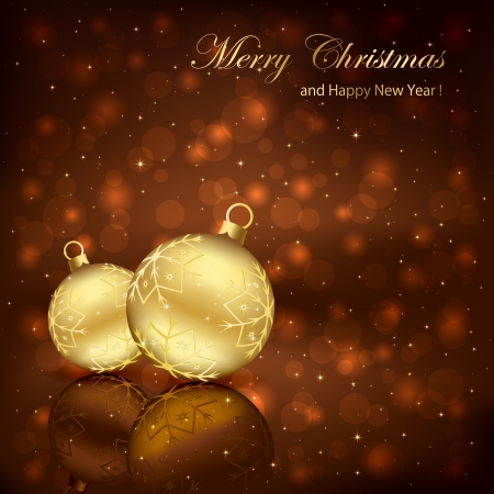 Two golden Christmas balls on brown background, illustration.