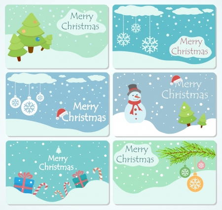 Set of cards with Christmas trees, baubles, snowflakes, gift boxes and snowman, illustration.  Vector