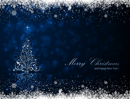noel: Abstract winter blue background with Christmas tree and snowflakes, illustration.