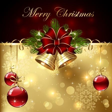 Fondo con bolas de Navidad, campanas, el arco y el oropel, ilustración. Ilustración de vector