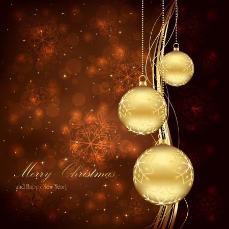Three golden Christmas balls on brown background, illustration. Illustration
