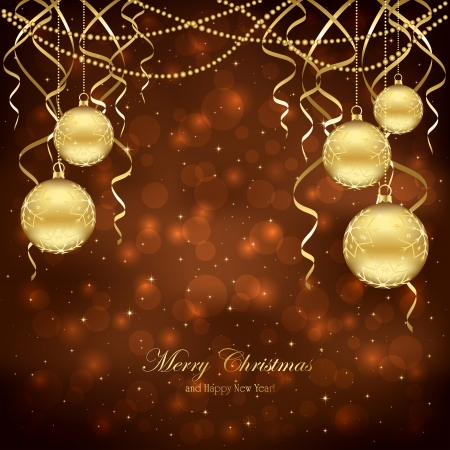 Decoration with golden Christmas balls on brown background, illustration. Stock Vector - 16373791
