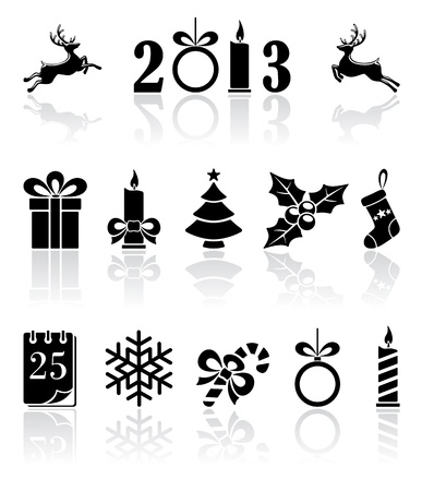 candle flame: Set of black Christmas icons, illustration