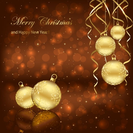 Decoration with golden Christmas balls on brown background, illustration. Stock Vector - 16447299