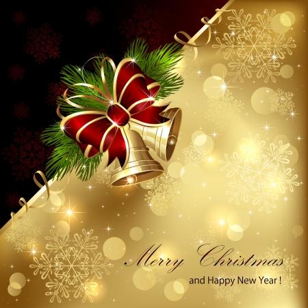 campanas de navidad: De fondo de Navidad con campanas de oro, el arco y el oropel, ilustración. Vectores