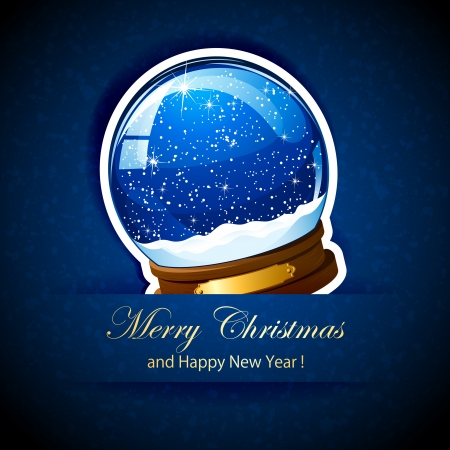 Christmas Snow globe with the falling snow, illustration. Vector
