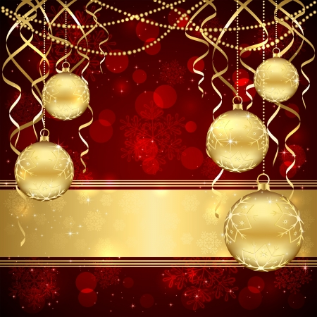 Decoration with golden Christmas balls on red background, illustration. Stock Vector - 16613075