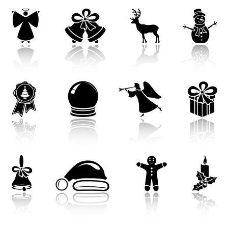 campanas: Conjunto de iconos de la Navidad en blanco sobre fondo blanco ilustraci�n, Vectores