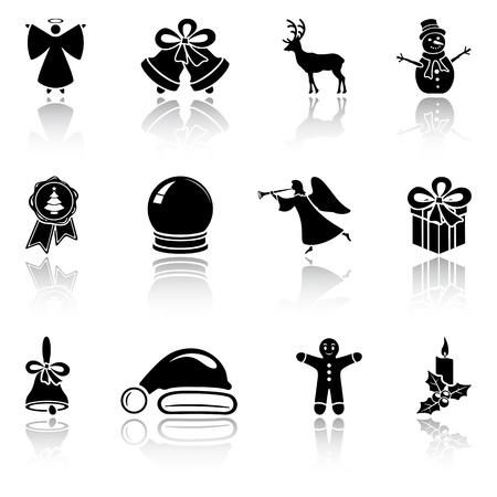 cloches: Ensemble d'ic�nes de No�l sur fond noir, blanc d' Illustration