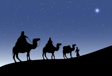 Drie wijze mannen met kamelen en een stralende ster van Bethlehem, illustratie.