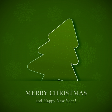 Illustration of a green paper Christmas tree. Vector