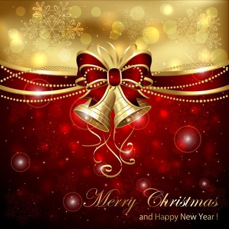 Fondo con las campanas de Navidad, lazo rojo y oropel, ilustración.