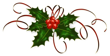 Illustration of a holly berries and tinsel isolated on a white background.