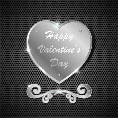 st valentine day: Iron heart on a dark background, illustration
