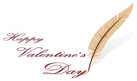 st valentins day: Sfondo con piuma e testo, illustrazione