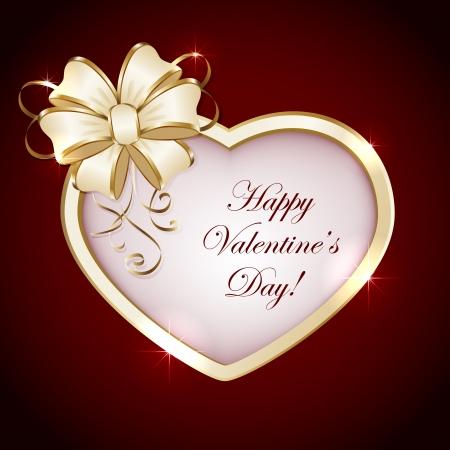 st valentins day: Cuore con fiocco su sfondo rosso, illustrazione. Vettoriali
