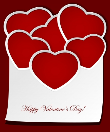 st valentins day: Illustrazione di un cuore di carta rossa. Vettoriali